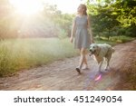 Stock photo girl walking dog in park 451249054