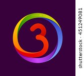 number three logo in colorful... | Shutterstock .eps vector #451249081