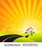 small house in summer sunrise... | Shutterstock .eps vector #451250761