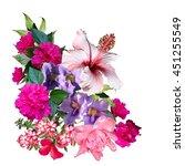tropical flowers bouquet... | Shutterstock . vector #451255549