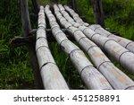 Close Old Bamboo Bridge Over A...