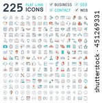 set vector line icons in flat... | Shutterstock .eps vector #451269331