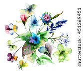 colorful wild flowers ... | Shutterstock . vector #451269451