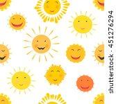 cute hand drawn sun seamless... | Shutterstock .eps vector #451276294