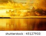 Landscape leisure resort lake beautiful orange sunset - stock photo