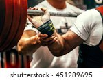athlete powerlifter squats with ...   Shutterstock . vector #451289695