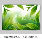 green tea leaf  | Shutterstock .eps vector #451308421
