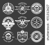 white color airplane emblem set ... | Shutterstock .eps vector #451312627