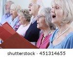 Group Of Seniors Singing In...