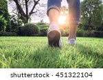 woman jeans and sneaker shoes... | Shutterstock . vector #451322104