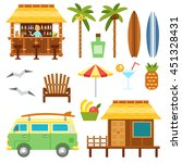beach scene elements with bar ... | Shutterstock .eps vector #451328431