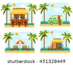 beach scene with bar  surf van  ... | Shutterstock .eps vector #451328449