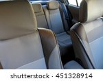 Car interior with bright leather upholstery on the car seats stock image  - stock photo