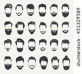 hipster vector set  hair and... | Shutterstock .eps vector #451329589