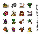 thin line india icons set