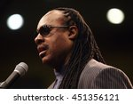 Small photo of Los Angeles, California, USA; Feb 03, 2008; Stevie Wonder campaigns for Democratic Presidential candidate Barack Obama at UCLA in Los Angeles, California.