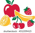 fruit set   healthy fresh fruits | Shutterstock .eps vector #451359415