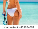 back of young woman in bikini... | Shutterstock . vector #451374331