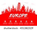 europe travel landmarks. vector ... | Shutterstock .eps vector #451382329
