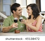 man and woman toast with red... | Shutterstock . vector #45138472