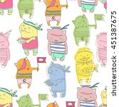 seamless pattern with cute... | Shutterstock .eps vector #451387675