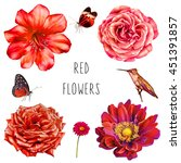 Stock photo set of red flowers with butterfly and hummingbird rose dahlia and bell flower isolated on white 451391857