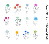 vector floral decorative set.... | Shutterstock .eps vector #451396999
