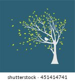 Silhouette Autumn Tree With Bird