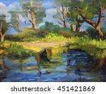 Trees Reflection Lake Oil...