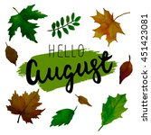 hello august. trend calligraphy.... | Shutterstock .eps vector #451423081