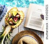 summer relax poolside reading... | Shutterstock . vector #451432021