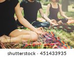 young yoga practitioners in... | Shutterstock . vector #451433935
