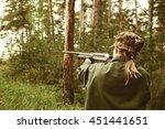 woman hunter with a gun.... | Shutterstock . vector #451441651