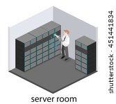 isometric interior of server... | Shutterstock .eps vector #451441834