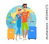 couple traveling summer... | Shutterstock .eps vector #451444171