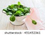 Raw Fresh Spinach In A Colande...