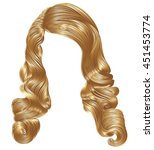 long curly hairs  light blond  ... | Shutterstock .eps vector #451453774