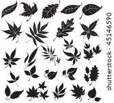 raster set of black floral