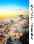 lights of oia village at... | Shutterstock . vector #451473925