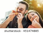 happy attractive young couple... | Shutterstock . vector #451474885