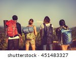 backpacker camping hiking... | Shutterstock . vector #451483327