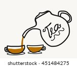 teapot and cup illustration | Shutterstock . vector #451484275