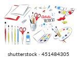 vector set of artists supplies... | Shutterstock .eps vector #451484305