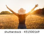 hippie girl in nature  arms... | Shutterstock . vector #451500169