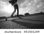 Man Riding By Longboard For Th...