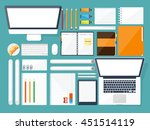 workplace in office with table... | Shutterstock .eps vector #451514119