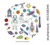 hand drawn doodle space and... | Shutterstock .eps vector #451538344
