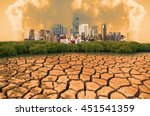 global warming  dry cracked...   Shutterstock . vector #451541359