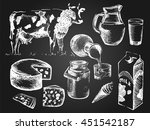 hand drawn set of milk products ... | Shutterstock .eps vector #451542187
