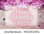 pink flowers on wooden with... | Shutterstock . vector #451551451